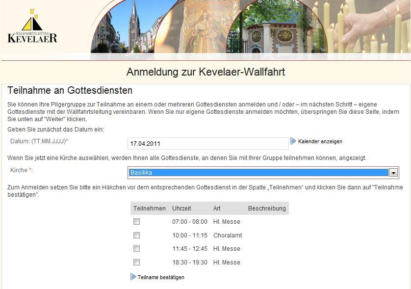Wallfahrt Kevelaer Software - Webformular
