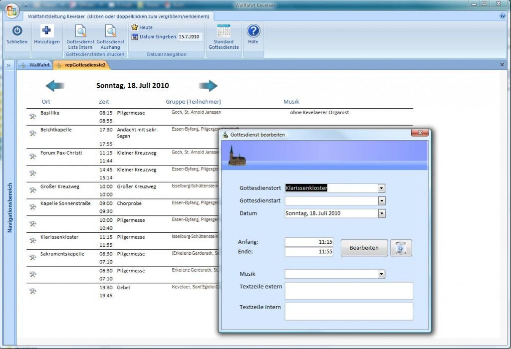 Wallfahrt Kevelaer Software - Gottesdienstübersicht